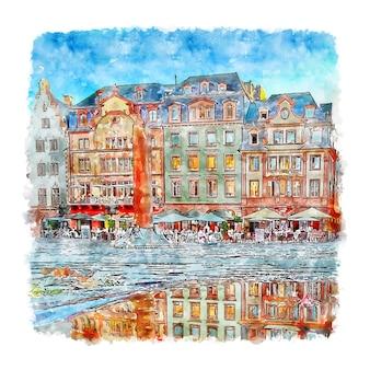 Mainz allemagne croquis aquarelle illustration dessinée à la main