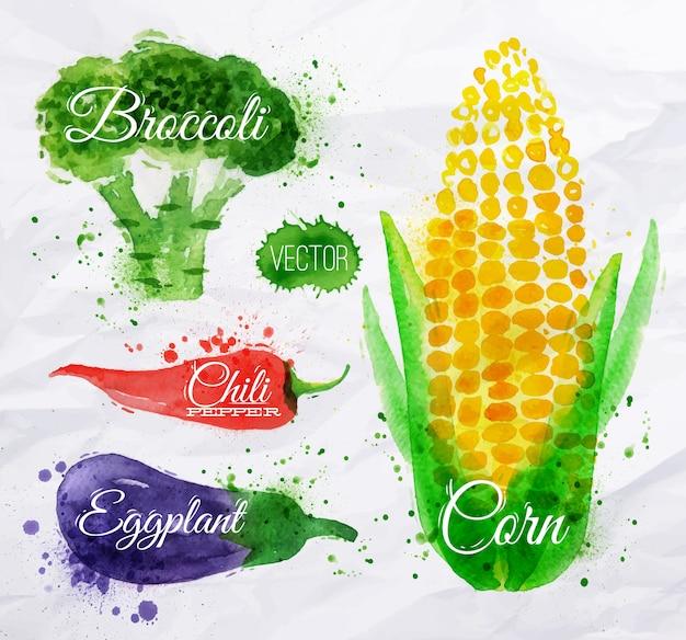 Maïs aquarelle de légumes