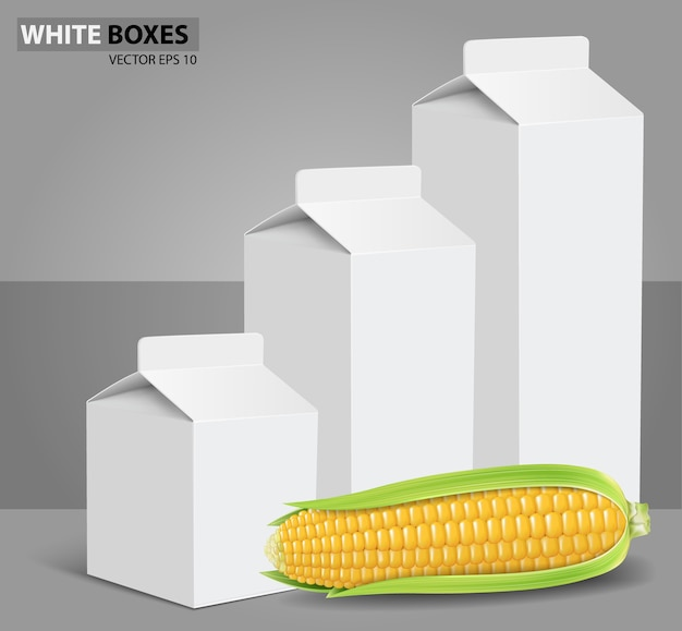 Maïs, boîtes de carton blanc paquets avec du maïs