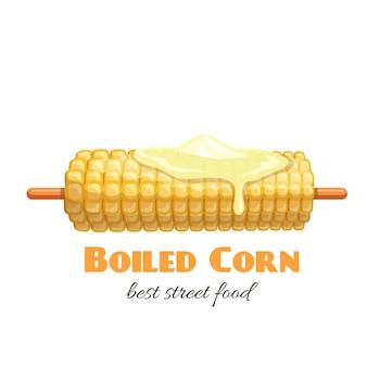 Maïs bouilli sur bâton.