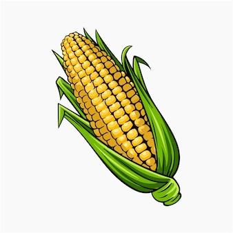Maïs doré, vecteur, illustration, dessin animé clipart
