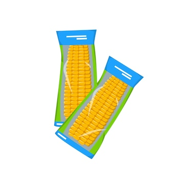 Le maïs instantané en épi emballé sous vide en été et en automne récolte de délicieux aliments préparés source de vi ...