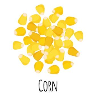 Maïs pour la conception, l'étiquette et l'emballage du marché fermier modèle. super aliment biologique à protéines énergétiques naturelles. illustration isolée de dessin animé de vecteur.