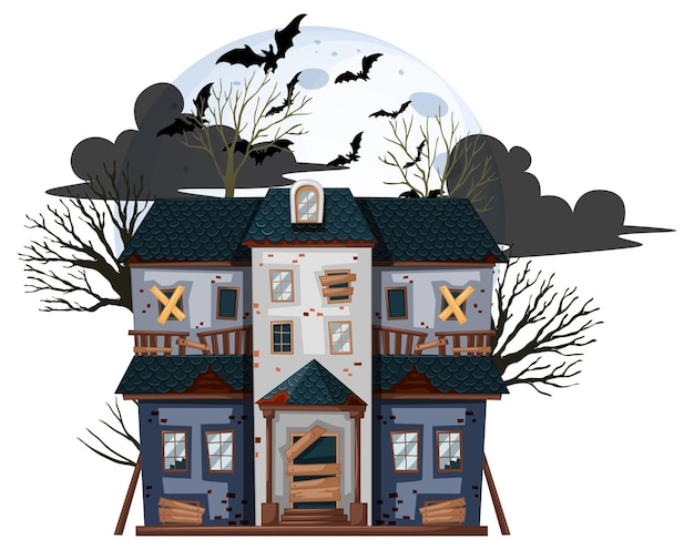 Maison abandonnée d'halloween sur fond blanc