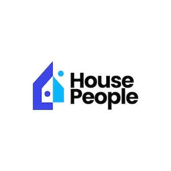 Maison accueil personnes équipe humaine travail famille logo vector icône illustration