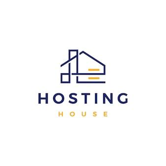 Maison accueil serveur d'hébergement cloud stockage de données logo vector icône illustration