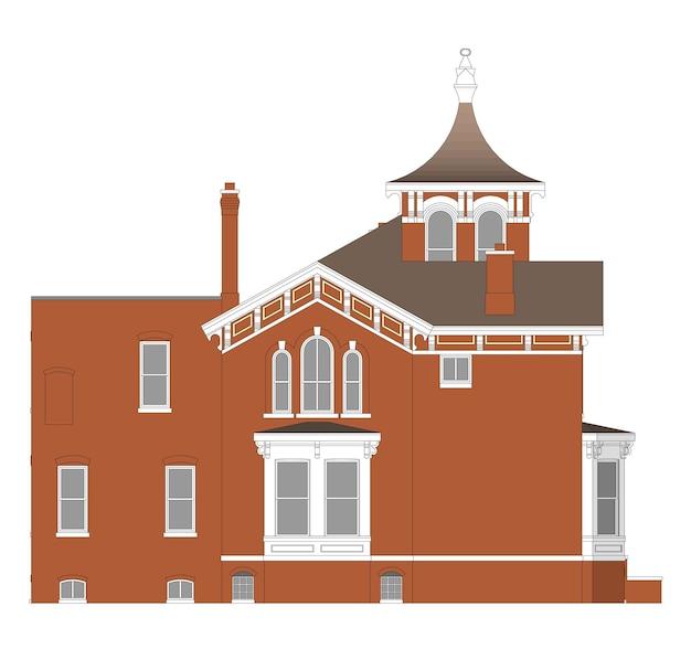 Maison ancienne de style victorien. illustration sur fond blanc. espèces de différents côtés.