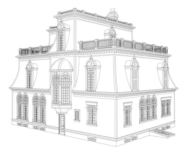 Maison ancienne de style victorien. illustration sur fond blanc. illustration en noir et blanc dans les lignes de contour. espèces de différents côtés.