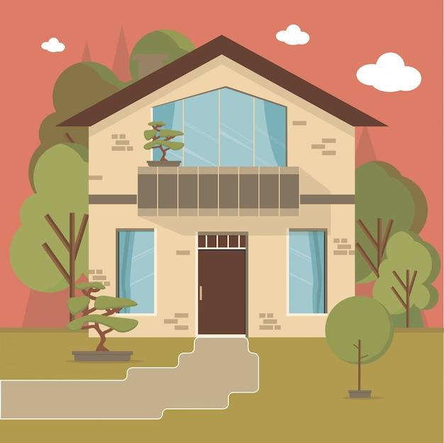 Maison et appartement sur le fond de la nature