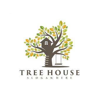 Maison de l'arbre logo vectoriel