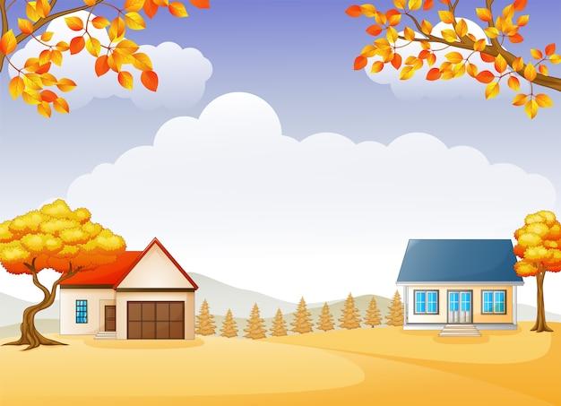 Maison d'automne et jardin avec des arbres feuillus lumineux