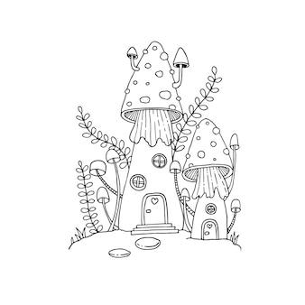 Maison aux champignons dans les griffonnages de contes de fées. illustration isolée