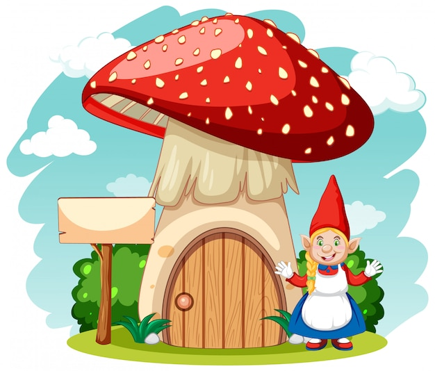Maison aux champignons avec gnome en style cartoon sur fond blanc