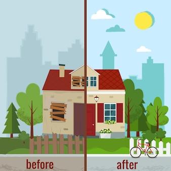 Maison avant et après réparation appartement.