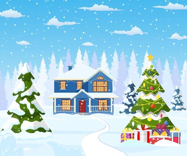 Maison de banlieue couverte de neige.