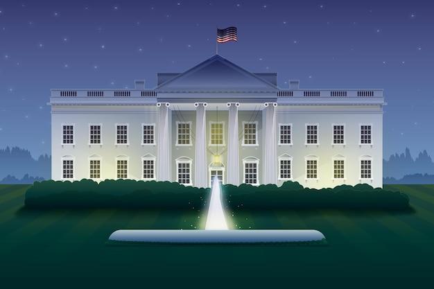 Maison blanche détaillée la nuit