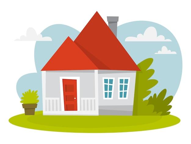 Maison blanche avec toit rouge et arbres autour