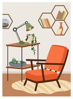 Maison boho avec fauteuil ivy plante lampe étagères vector illustration. intérieur hygge scandinave à la mode de dessin animé, décorations pour la maison de meubles, maison confortable meublée dans un fond de style bohème hygge