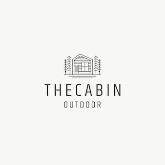 Maison en bois chalet chalet logo icône modèle de conception illustration vectorielle plane