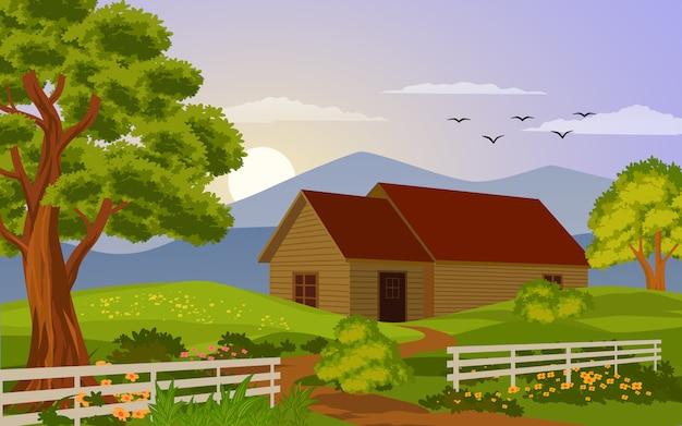 Maison en bois avec clôture au coucher du soleil