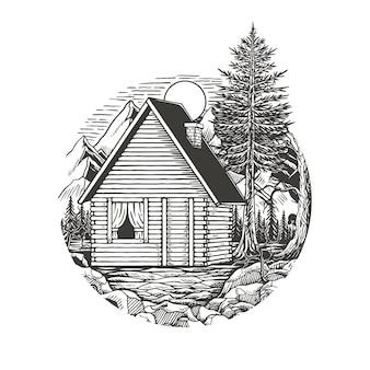 Maison en bois dans le vecteur premium sauvage