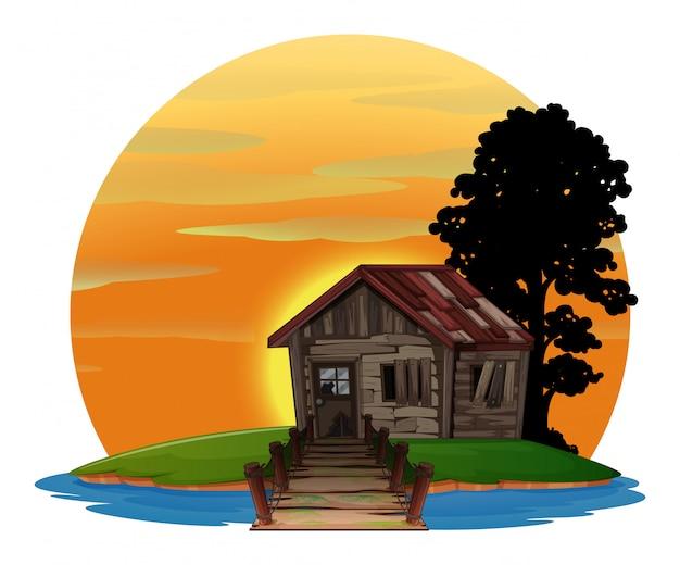 Maison en bois sur l'île