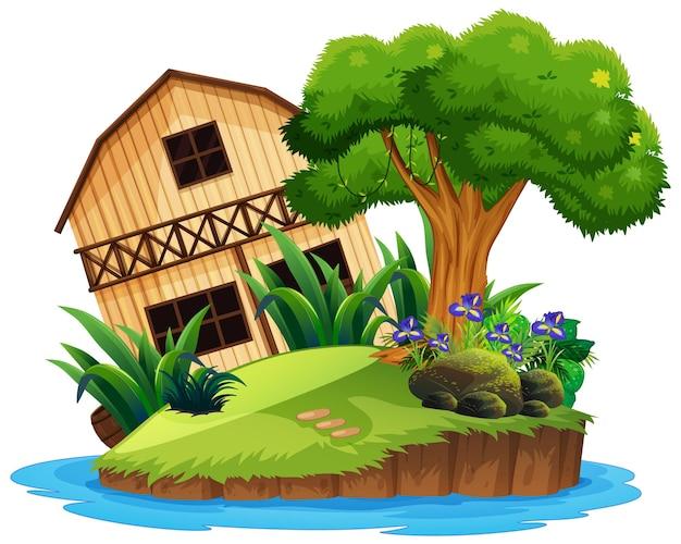 Maison en bois isolée sur l'île