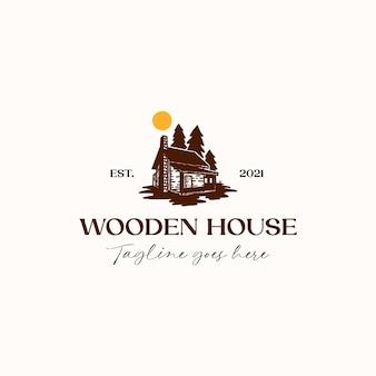 Maison bois pin arbre logo modèle isolé