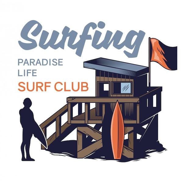 Maison en bois de plage du club de surf sauveteur de plage dans un style rétro vintage avec surfeur silhouette. illustration de dessin animé