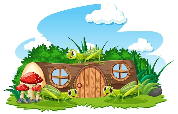 Maison en bois avec style cartoon sauterelle sur fond blanc