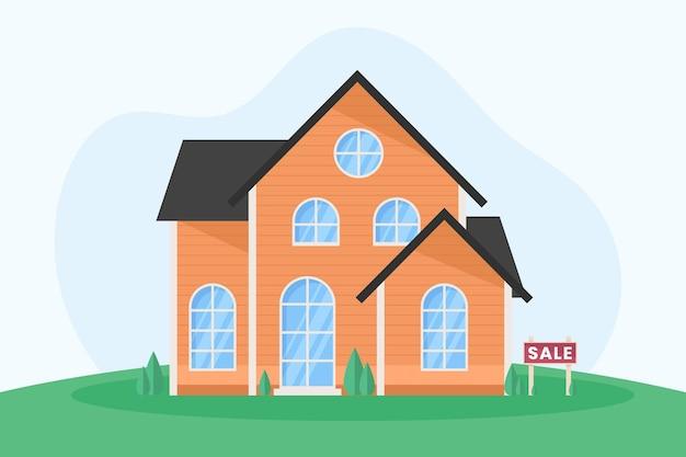 Maison en bois à vendre avec signe