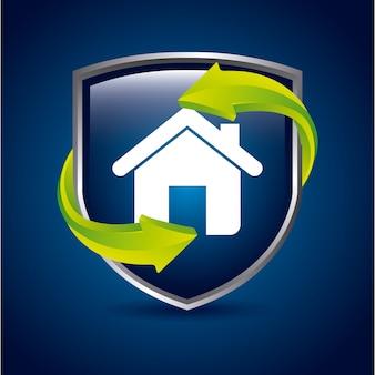 Maison bouclier au cours de l'illustration vectorielle fond bleu