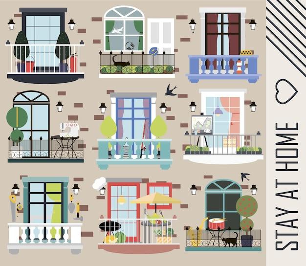 Maison en brique avec différents balcons de personnes exerçant différentes professions restez à la maison vecteur plat