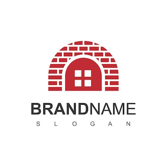 Maison de brique, modèle de logo immobilier