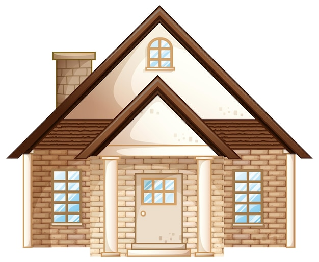 Maison en brique avec toit marron