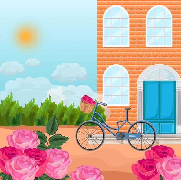 Maison en briques dans un fond de province vector. bicyclettes et champs de roses
