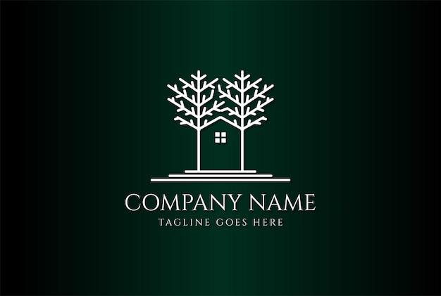 Maison cabane arbre forêt ligne création logo immobilier vector
