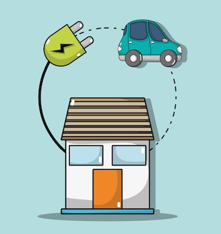 Maison avec câble d'alimentation à la connexion de voiture électrique