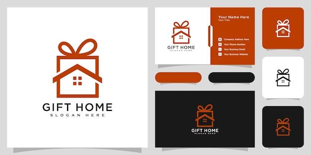 Maison de cadeau, vecteur de conception de logo à la maison et carte de visite