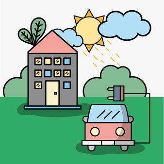 Maison et camion de pompier avec câble d'alimentation