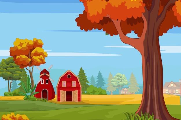 Maison de campagne dans la forêt avec de nombreux arbres