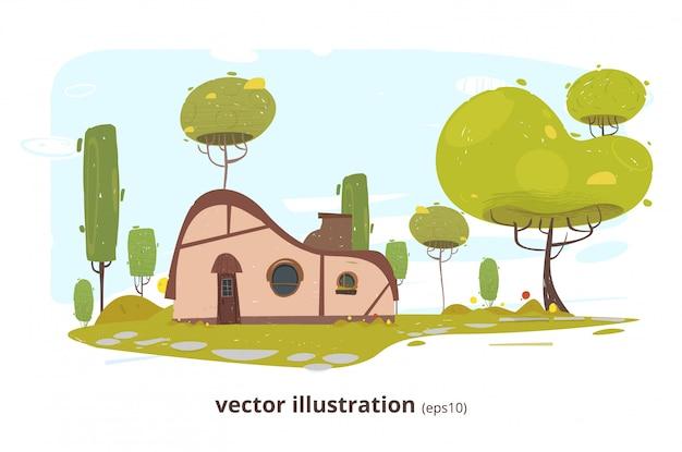 Maison de campagne avec fenêtre ronde, porte et cheminée
