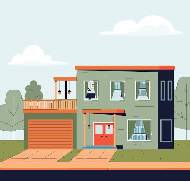 Maison de campagne avec garage et grand balcon