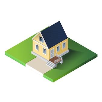 Maison de campagne isométrique sur terrain vert.