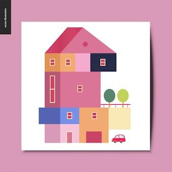 Maison, carte postale d'été