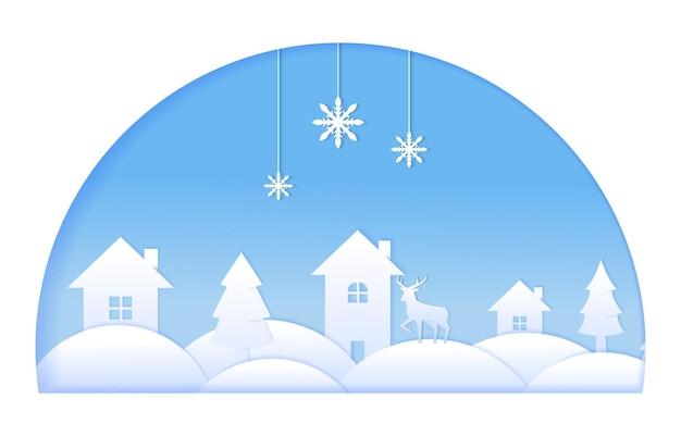 Maison cerf pins hiver papier découpé papier style illustration