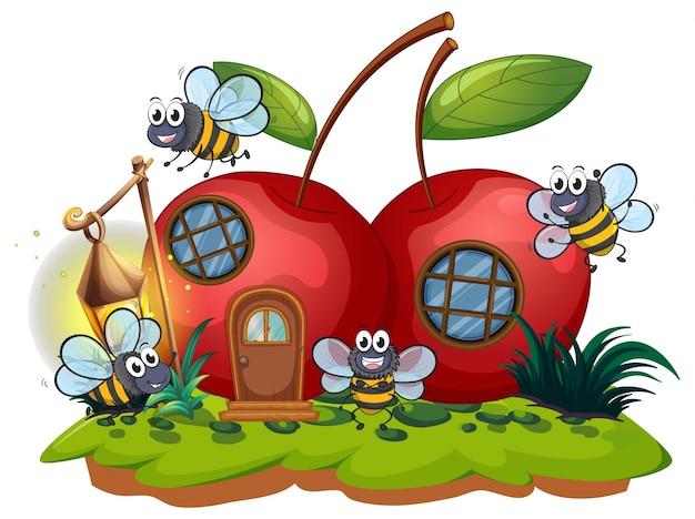 Maison à cerises et beaucoup d'abeilles volant