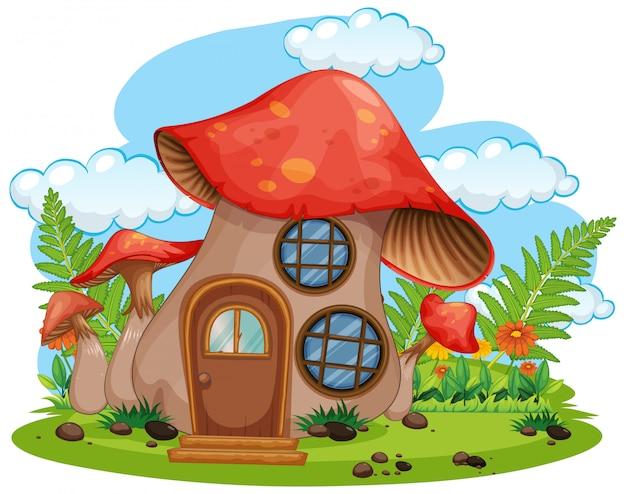 Maison champignon fantaisie isolé