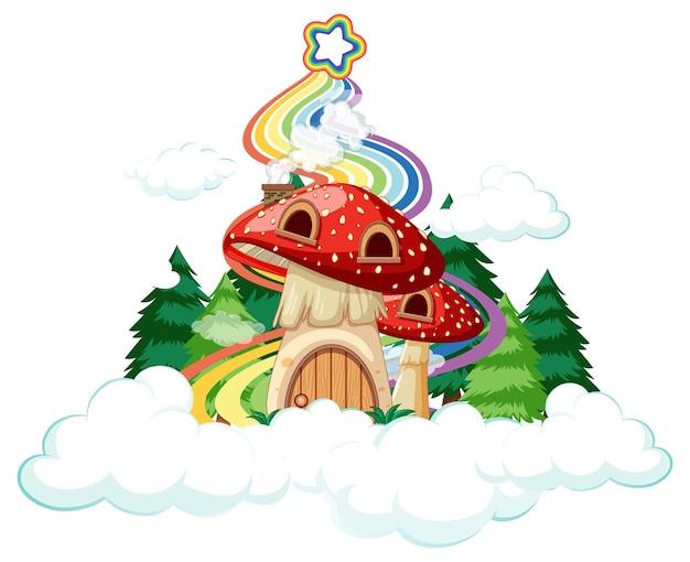 Maison champignon sur le nuage avec arc-en-ciel