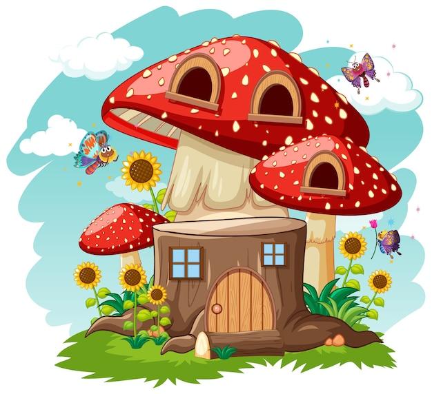 Maison de champignon de souche et dans le style de dessin animé de jardin sur le ciel